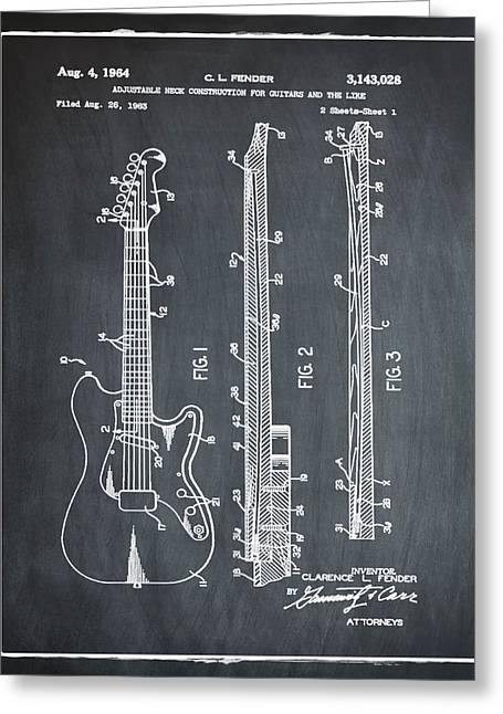 Fender Stratocaster Patent 1964 Chalk Greeting Card by Bill Cannon