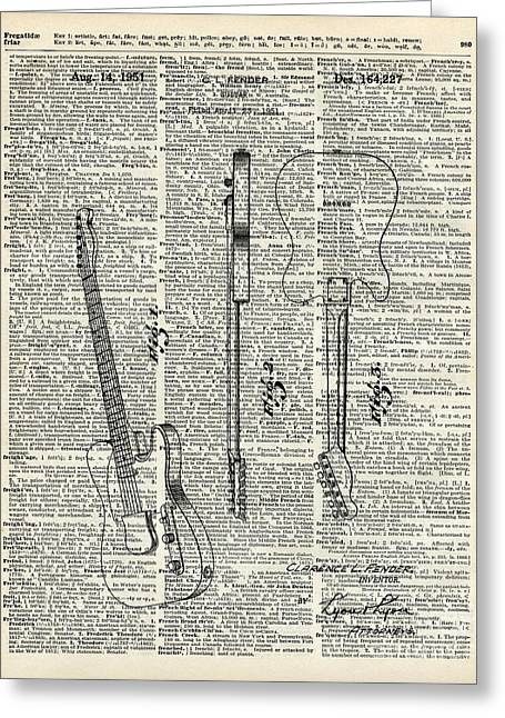 Old Tapestries - Textiles Greeting Cards - Fender telecaster guitar over dictionary page Greeting Card by Jacob Kuch
