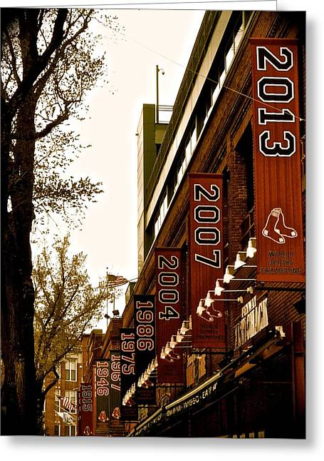 Fenway Park Greeting Cards - Fenway Banners Greeting Card by Leslie Carbone