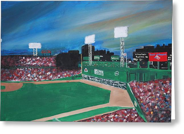 Fenway Park Paintings Greeting Cards - Fenway Night Greeting Card by Leo Artist