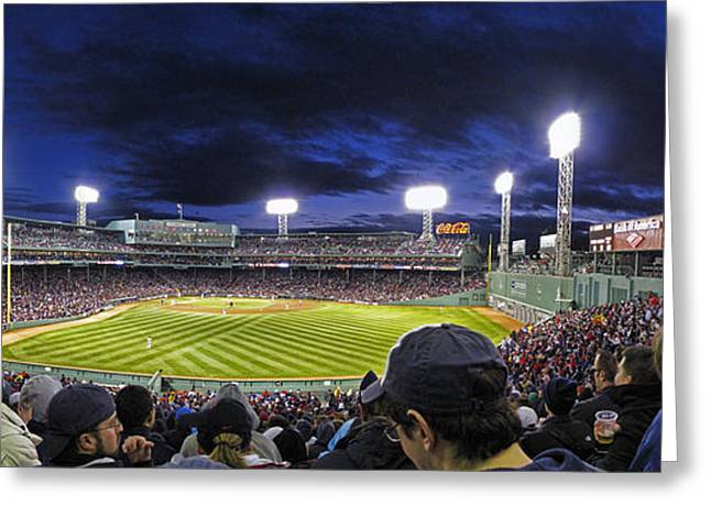 Fenway Night Greeting Card by Rick Berk