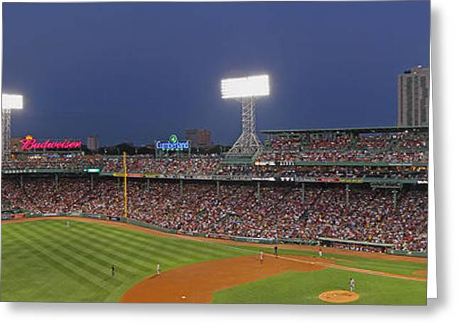 Fenway Park Greeting Cards - Fenway Park and Boston Skyline Greeting Card by Juergen Roth