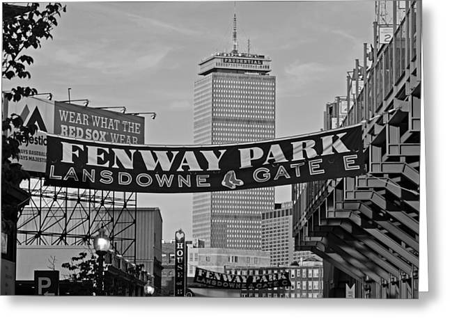 Boston Red Sox Greeting Cards - Fenway Park Banners Boston MA Black and Whtie Greeting Card by Toby McGuire