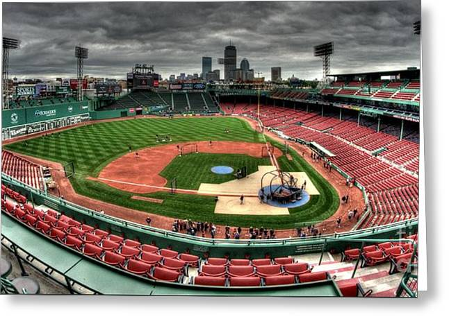 Fenway Park Greeting Cards - Fenway Park - Batting Practice Greeting Card by Mark Valentine