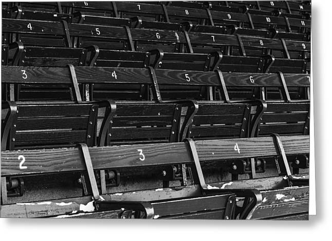 Red Sox Nation Greeting Cards - Fenway Park Blue Bleachers BW Greeting Card by Susan Candelario