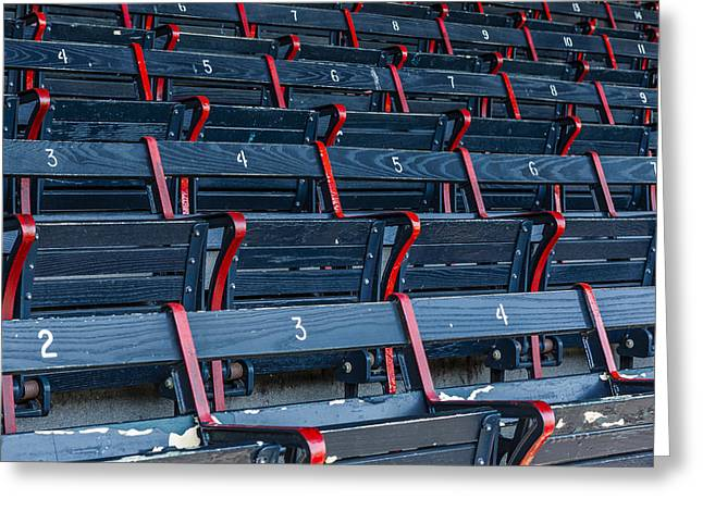 Stadium Design Greeting Cards - Fenway Park Blue Bleachers Greeting Card by Susan Candelario
