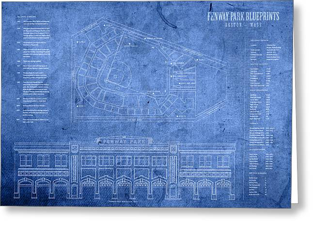 Park Greeting Cards - Fenway Park Blueprints Home of Baseball Team Boston Red Sox on Worn Parchment Greeting Card by Design Turnpike