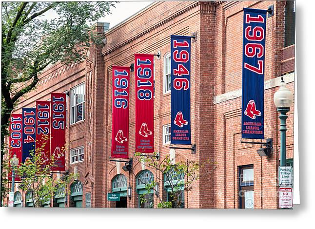 Boston Red Sox Greeting Cards - Fenway Park Championship Banners on Yawkey Way Greeting Card by Dawna  Moore Photography