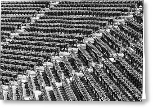 Stadium Design Greeting Cards - Fenway Park Green Bleachers BW Greeting Card by Susan Candelario