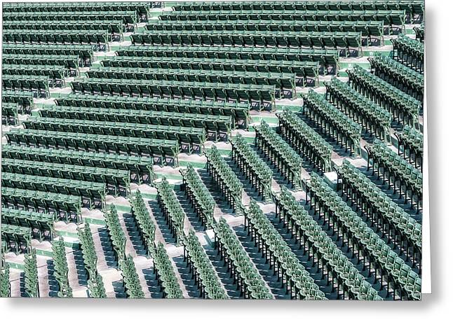 Red Sox Nation Greeting Cards - Fenway Park Green Bleachers Greeting Card by Susan Candelario