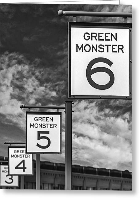 Green Monster Greeting Cards - Fenway Park Green Monster Section Signs BW Greeting Card by Susan Candelario