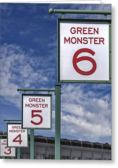 Green Monster Greeting Cards - Fenway Park Green Monster Section Signs Greeting Card by Susan Candelario