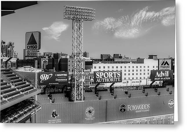 Fenway Park Green Monster Wall Bw Greeting Card by Susan Candelario