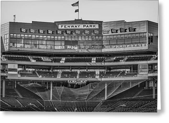 Boston Red Sox Greeting Cards - Fenway Park Interior BW Greeting Card by Susan Candelario