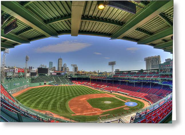 Boston Sports Parks Greeting Cards - Fenway Park Interior  Greeting Card by Joann Vitali