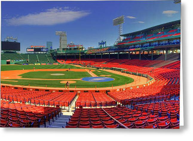 Boston Red Sox Greeting Cards - Fenway Park Interior Panoramic - Boston Greeting Card by Joann Vitali