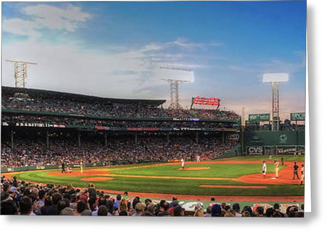 Fenway Park Greeting Cards - Fenway Park Panoramic - Boston Greeting Card by Joann Vitali