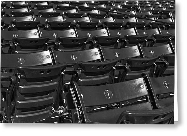 Red Sox Nation Greeting Cards - Fenway Park Red Bleachers BW Greeting Card by Susan Candelario