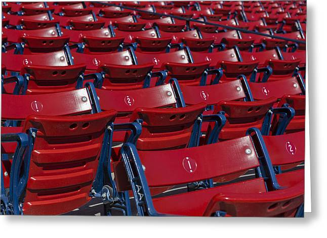 Stadium Design Greeting Cards - Fenway Park Red Bleachers Greeting Card by Susan Candelario