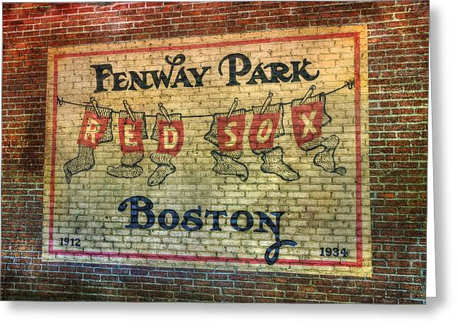Boston Red Sox Prints Greeting Cards - Fenway Park Sign - Boston Greeting Card by Joann Vitali