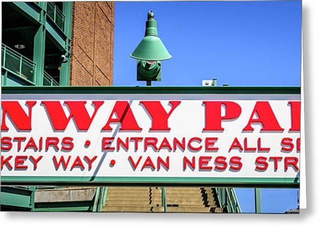 Fenway Park Sign Gate D Entrance Panorama Photo Greeting Card by Paul Velgos