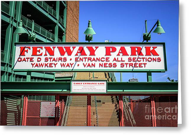 Fenway Park Sign Gate D Entrance Photo Greeting Card by Paul Velgos