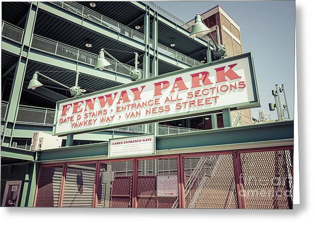 Fenway Park Sign Gate D Retro Photo Greeting Card by Paul Velgos