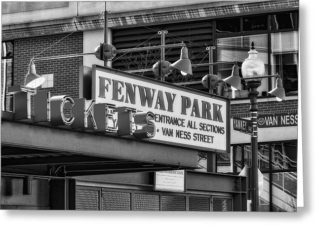 Tickets Boston Greeting Cards - Fenway Park Tickets BW Greeting Card by Susan Candelario