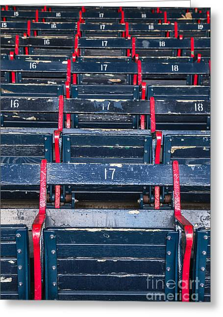 Boston Red Sox Greeting Cards - Fenway Parks Grandstand Seating #17 Greeting Card by Dawna  Moore Photography