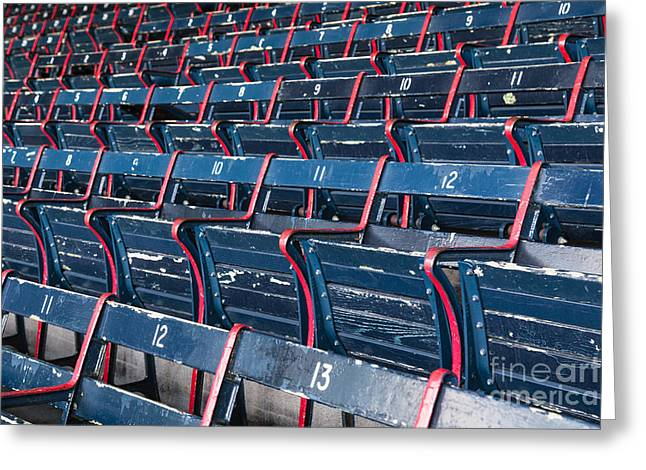 Baseball Stadiums Greeting Cards - Fenway Parks Grandstand Seating Greeting Card by Dawna  Moore Photography
