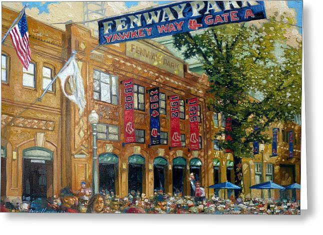 Buildings Paintings Greeting Cards - Fenway Summer Greeting Card by Gregg Hinlicky