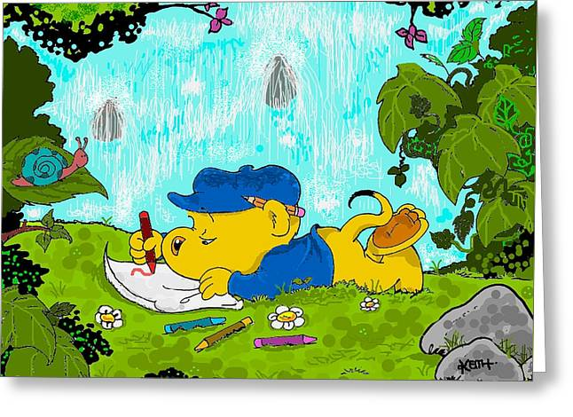 Best Sellers -  - Cartoonist Greeting Cards - Ferald Drawing By The Waterfall Greeting Card by Keith Williams