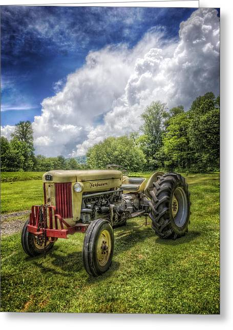 Field. Cloud Greeting Cards - Ferguson Tractor Greeting Card by Debra and Dave Vanderlaan
