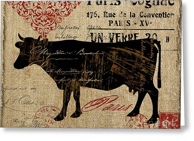Piglets Greeting Cards - Ferme Farm Cow Greeting Card by Mindy Sommers
