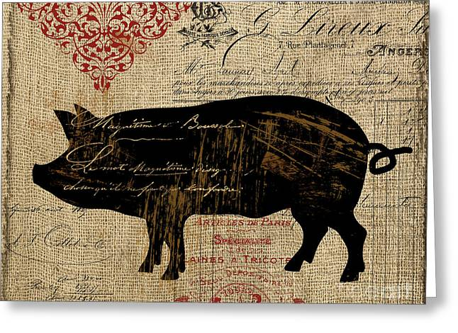 Piglets Greeting Cards - Ferme Farm Piglet Greeting Card by Mindy Sommers