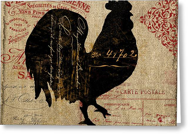 Piglets Greeting Cards - Ferme Farm Rooster Greeting Card by Mindy Sommers