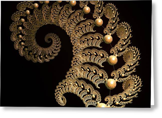Fractal Globes Greeting Cards - Fern-Spiral-Fern Greeting Card by Deborah Benoit