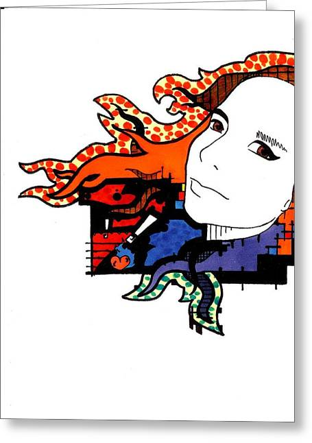 Best Sellers -  - Abstract Digital Drawings Greeting Cards - Fernanda Greeting Card by Vincent Anderson