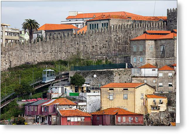 Funicular Greeting Cards - Fernandina City Wall and Funicular dos Guindais in Porto Greeting Card by Artur Bogacki