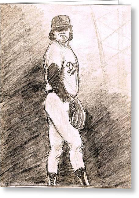 Fernando Valenzuela Greeting Card by Mel Thompson