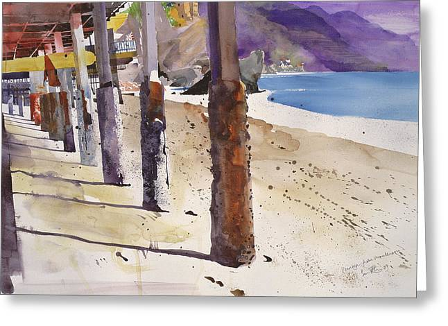 Ocean Shore Drawings Greeting Cards - Fernazza from Montalcino Greeting Card by Simon Fletcher