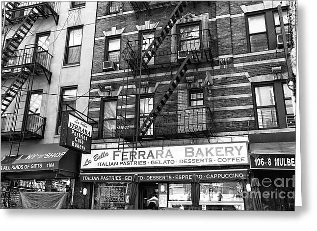 Bakery Poster Greeting Cards - Ferrara of Mulberry Street mono Greeting Card by John Rizzuto