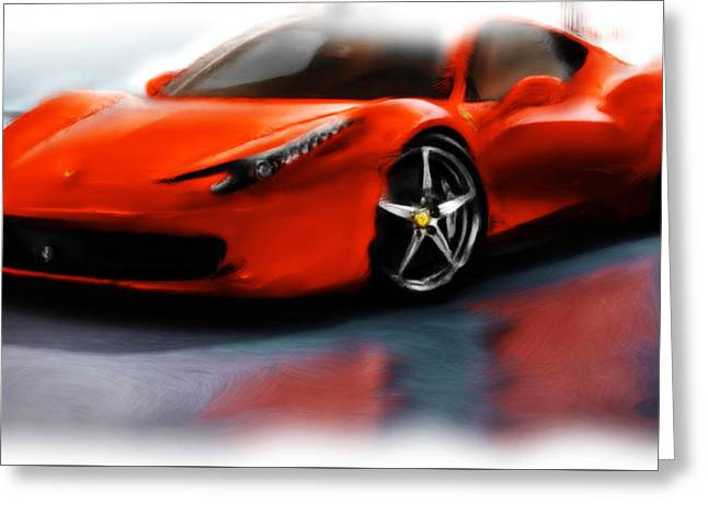 French Open Paintings Greeting Cards - Ferrari 12a Greeting Card by Brian Reaves