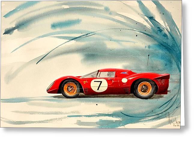 Ferrari 133 P Greeting Card by MICHAUX Michel