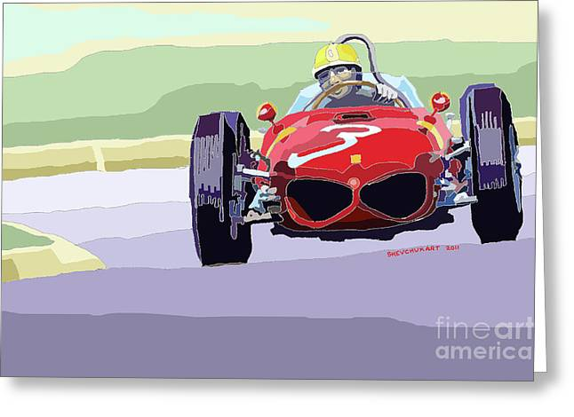 Dino Greeting Cards - Ferrari 156 Dino 1962 Dutch GP Greeting Card by Yuriy  Shevchuk