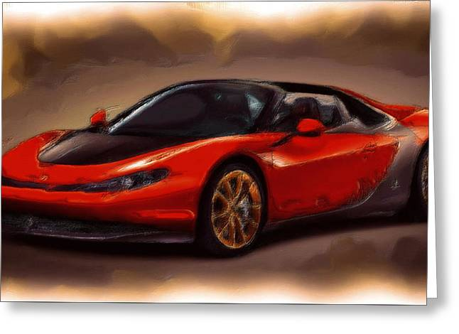 French Open Paintings Greeting Cards - Ferrari 15a Greeting Card by Brian Reaves