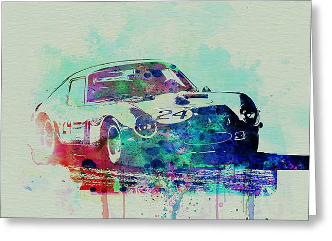 Drawings Greeting Cards - Ferrari 250 GTB Racing Greeting Card by Naxart Studio
