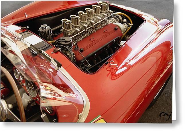 Ferrari 250 TR Engine and Dash Greeting Card by Curt Johnson