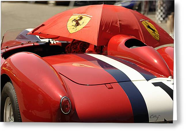 Curt Johnson Greeting Cards - Ferrari 250 TR Made in the Shade Greeting Card by Curt Johnson