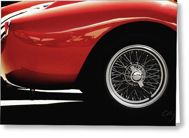 Curt Johnson Greeting Cards - Ferrari 250TR 1958 wheel Greeting Card by Curt Johnson